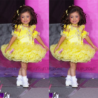 Wholesale Yellow Tutu Glitz Little Girl s Pageant Dresses with Half Sleeves Crystal Beaded Sugars Short Toddler Kids Girl Cupcake Gowns Size