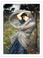 Wholesale figurative art posters canvas painting portrait pictures mural prints art Boreas By John William Waterhouse Neo Classical artist