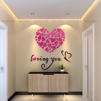 Wholesale Heart Shaped Acrylic Mirrored Decorative Sticker Loving You Butterfly Living Room Love D Wall Stickers Wedding Home Decorations