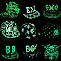 baseball south korea - South Korea hat hat hip hop cap fluorescent luminous Children skull flat along the baseball cap EXO family cap Halloween Gift