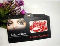 ballroom masks - 2014 Fashion Black Hollow Lace Brow Lace Artistic Eyes Mask Eyelashes Decals Stickers For Ballroom Theme Party