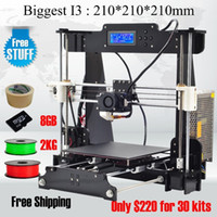 Cheap 2016 Hot! Free shipping size 210*210*210mm High Quality Precision Reprap Prusa i3 DIY 3d Printer kit with 2kg Filament 8GB SD card and LCD