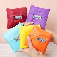 Wholesale New pieces Japan BAGGU Square Pocket Shopping Bag Candy colors Available Eco friendly Reusable Folding Handle Nylon Bag