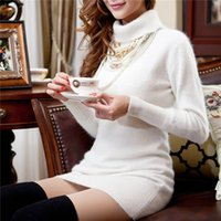 mink cashmere - Mink Cashmere Dress of Women s Turtle Neck Style Autumn Winter Long Style Pullover Fashion High Quality Mink Cashmere Dress MR007