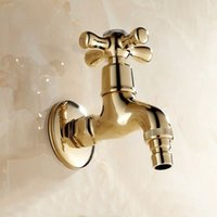Wholesale New Garden Golden Brass Finish Bathroom Wall Mount Washing Machine Water Faucet Taps bath mixer tap toilet pool use K