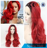 Wholesale hot sales ombre red wigs synthetic lace front wig for black women body wave hair heat resistant fiber