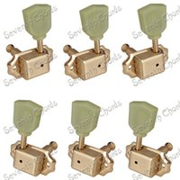 Wholesale A Set Tulip Trapezoid Jade Green Button Deluxe String Tuning Pegs Tuners Machine Heads for Acoustic EPI LP Electric Guitar Gold