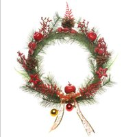 Wholesale 2015 Christmas Home Garden Door Ornament Garland Dia cm Wreath with Apples Stars Strawberries and Maple Leaves DWC003