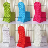 Cheap 50PCS MOQ 13Color 3D Satin Rosette Flower Back Banquet Lycra Chair Cover For Wedding Use