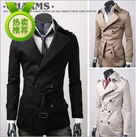 Wholesale Fall winter UK style short trench coat mens casual windbreaker fashion jacket men trench coat men