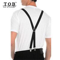 Wholesale TOB Fashion clips Men s suspenders cm women pants suspenders high elastic black mens braces casual ZF358