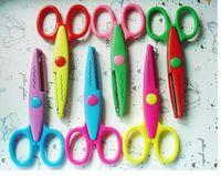 Wholesale 12 DIY Plastic Decorative Craft Enfant School Scissors for Paper Cutter Scrapbooking korea Stationery