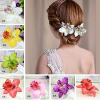 Wholesale New Fashion Women s Phalaenopsis Orchid Artificial Flowers Hair Clip Hairpins Bride Wedding or beach Butterfly Hair Accessories