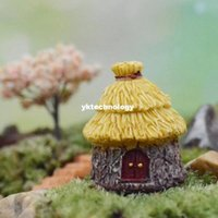 Wholesale New Promotion Resin Dome Cottages Thatched House Fairy Garden Miniature Craft Micro Landscape Decor Ornament DIY Decoration
