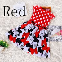 Cheap Hot Free Shipping 2015 Summer Clothing Baby Girls Dress Lovely Color Dot Mickey Mouse Minnie Print Dress Baby Clothes Kids clothing