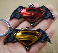Wholesale Avengers Super Heros Superman vs Batman Metal Keychain Pendant llaveros Key Chain llaveros mujer Chaveiro Key Ring