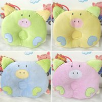 Wholesale Cartoon Piggy Pig Boys Girls Pillow Support Shape Soft Velvet Cotton Baby Pillow Newborn Infant Animal Pillows