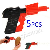 Wholesale Hot Kids Safty Spud Potato Toy Guns Children Traditional Plasic Funny Gun Pistol Retro Cast Toys OAA00010B