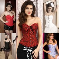 Wholesale Fashion Women Overbust Corset Strapless Ribbon Bow Wedding Dress Bustier Corselet With G string GI007