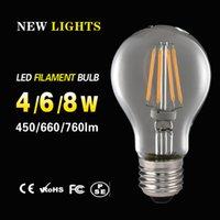 Wholesale Led filament lamp W A60 E27 E26 B22 hot sale Dimmable Led filament lights Edison Version light bulbs indoor led lights V