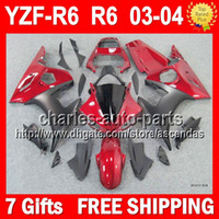 Wholesale 7gifts Body Dark red black For YAMAHA YZFR6 YZF YZF R6 Q9454 YZF600 YZF R6 YZF R Red black YZF Fairing Kit