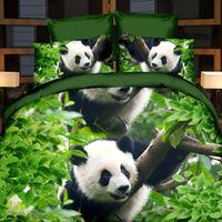bamboo sheets king - 3PCs D Print Panda Bamboo Design BEDDING Bed Sheets Home Textile Cover Pillow Set Queen
