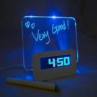 best message boards - 2015 New arrival Hot sale best quality Blue Fluorescent DIY Memo Message Board Desk Table Digital Alarm Clock With Port US F
