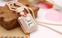 american beauty rose - High Quality Dimond Perfume Bottle Pendant Necklace Gold Plated Jewelry Fasion Beauty Necklace For Women I love You Rose Gold Necklace