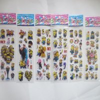 Cheap Wholesale 30pcs lot popular cartoon and game characters stickers like minecraft minions Frozen 3D stickers Christmas Gift for Children toy