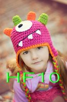 Boy Winter Crochet Hats free shipping,150pcs Cute Gorgeous Handmade Knit Hat Cap Baby Toddler Photograph Owl,monkey,monster, reindeer for Christmas gift 100% cotton