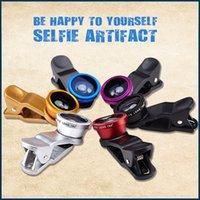 Wholesale lens in Universal Clip Fish Eye Wide Angle Macro Phone Fisheye Lens For iPhone Samsung htc lg
