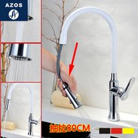 Wholesale Bathroom Sink Faucets Nickle White Porcelain CHrome Polish Silver Pull Out Hose Spray Single Handle Solid Brass Deck Mounted Hot Cold Mixers