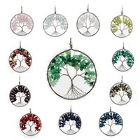agate - New Pendant Natural Crystal Gemstone Tree of Life Fashion High Quality Pendant for Necklace