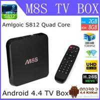 Wholesale M8S Android TV Box Kodi Loaded Android KitKat DLNA Miracast Airplay Amlogic S812 TV Box Play Streaming Update M8