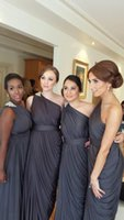 arrival group - New Arrival One Shoulder Dark Grey Long Bridesmaid Gown Affordable Groups Chiffon Sexy Backless Sheath Simple Aqua Bridal Party Dresses