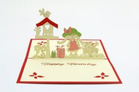 Birthday Cards Wholesale 3D/Stereoscopic Greenfox paper carving paper cut manual creative 3 d cartoon box girl stereo birthday CARDS Creative handmade gift