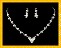 beige pearl necklace - 2016 New Style Hot Pearl Two Pieces Earrings Necklace Cheap Sets Jewelry New Arrival Hot Wedding bridal jewelry set