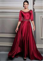 Wholesale 2015 Prom Dresses Elegant Beaded Crystals Half Long Sleeves Satin Scoop Neckline Full Length A Line Evening Gowns