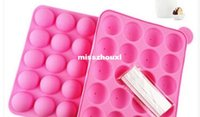 Wholesale 20 hole ball pops babycakes Silicone Cake Pop Pan With Sticks Cupcake Baking Mold