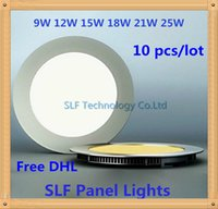 Wholesale 10pcs DHL CE Dimmable Round Led Panel Light SMD W W W W W W Led Ceiling Recessed down light Led downlight driver