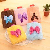 Wholesale 5 pieces Stylish Winter flannel Lovely Bow Knot decoration Small Water Filling Water Bottle Hot Water Bag Hand Warmer