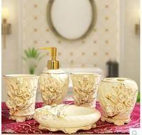 Wholesale Ou shi wei yu five bathroom ceramic piece practical wash gargle suit bathroom accessories bride wedding gift