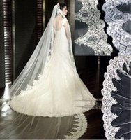 Wholesale Custom Wedding Veils Cathedral Length New Bride Lace Applique Wedding Veil Imitation Of High Grade Lace Veils Meters Optional Size