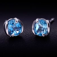 Wholesale Burning Shu genuine sterling silver natural Topaz Blue Topaz Earrings Korean female models blue crystal earrings