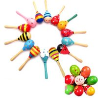 Wholesale New Hot Wooden Maraca Wood Rattles Kid Musical Party Favor Child Baby Shaker Toy High Quality PY