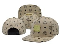 Wholesale Beige MCM Snapback Hats for Men Women High Quality Leather Snapbacks Brand New Fashion Hip Hop Cap