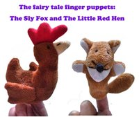 Wholesale 2016 new the sly fox and the little red hen cute children plush toys fairy tale finger puppets set set