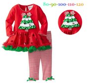 Wholesale Children Holiday Garment Kids Xmas Tree Butterfly Polka Bling Dot Layered Dress Stripe Leggings Set Girls Lace Tutu Dressy