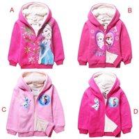 Wholesale EMS DHL Fast Frozen Elsa Anna Autum Winter Thicken Warm Fleece Hoodied Tweed Jacket Big Children Coats Styles J2862