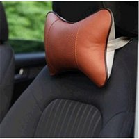 Wholesale Hot NEW Arrival Brown Perforating Design Danny leather Hole digging Car Headrest Supplies Neck Auto Safety Pillow order lt no track